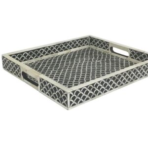 Bone Inlay Tray Black and White Tile Pattern