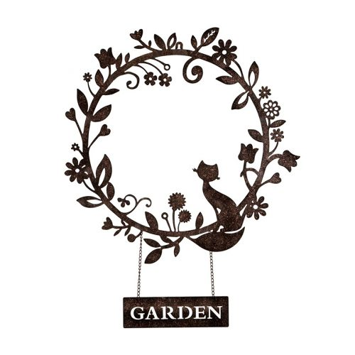 Cat Garden Wreath Decor Laser Cut Metal Wall Art