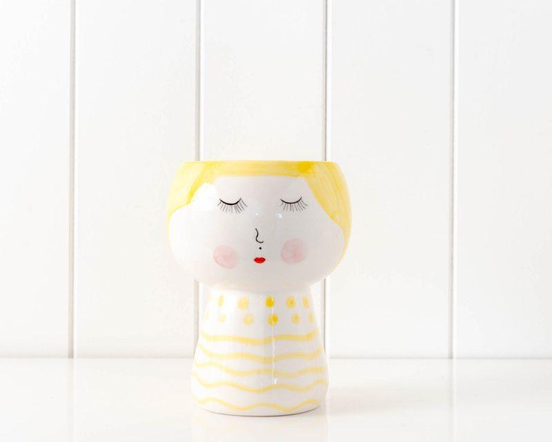 Cheeky Girl Face Vase Ceramic Pot Planter