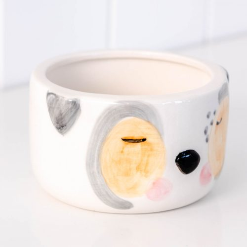 White Cheeky Puppy Dog Ceramic Pot Planter
