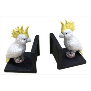 Cockatoo Bird Bookend - 2 Pieces Cast Iron Bookstand