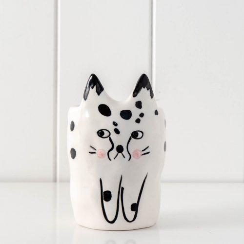 Funny Cat Ceramic Pot Planter - Black and White