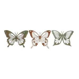 Hanging Metal Butterfly Distressed Outdoor Art - Set of 3