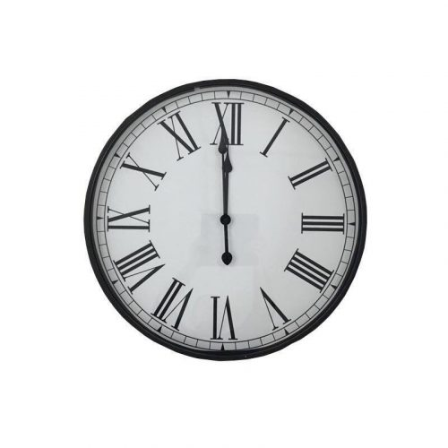 Large Metal Wall Clock with Glass Front