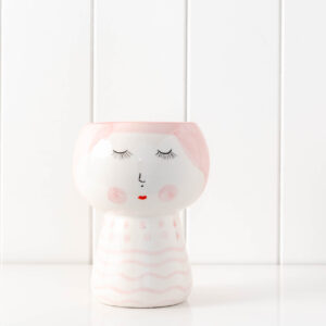 Modern Blushing Girl Ceramic Face Vase Pot Planter