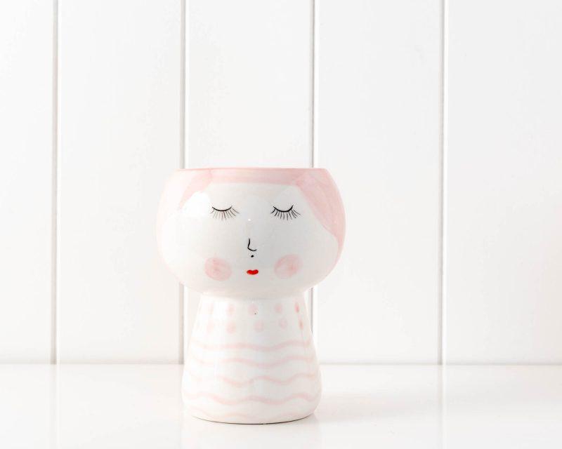 Modern Blushing Girl Ceramic Face Vase Pot Planter