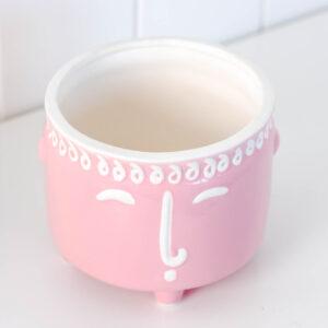 Modern Face Ceramic Planter On Legs - Pink