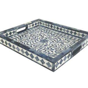 Moroccan Bone Inlay Serving Tray Blue Motif Pattern