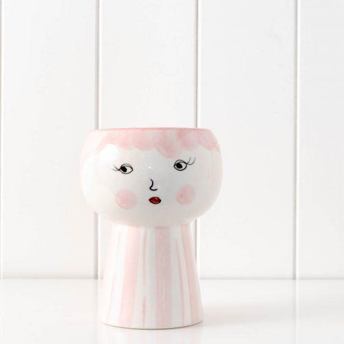 Pink Girl Face Vase Ceramic Pot Planter