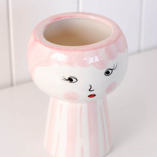 Pink Girl Face Vase Ceramic Pot Planter