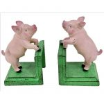 Pink Pig Bookends - 2 Pieces Cast Iron Book Stand