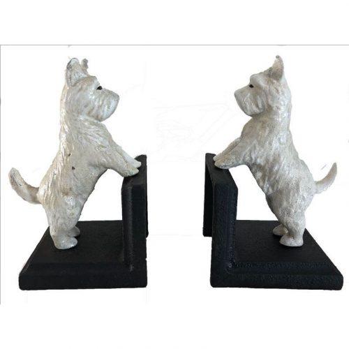 Scottie Dog Bookend - 2 Pieces Cast Iron White Ornament