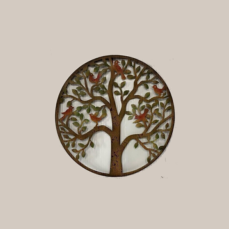 Tree of Life Decor Rustic Metal Birds Wall Art