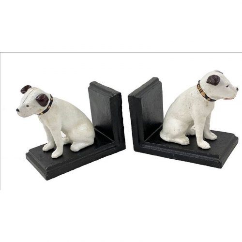 White Dog Bookends - 2 Pieces Cast Iron Book Stand