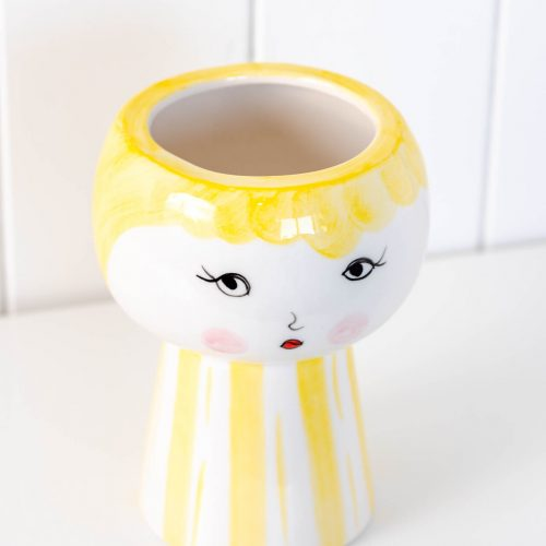 Yellow Girl Face Vase Ceramic Pot Planter