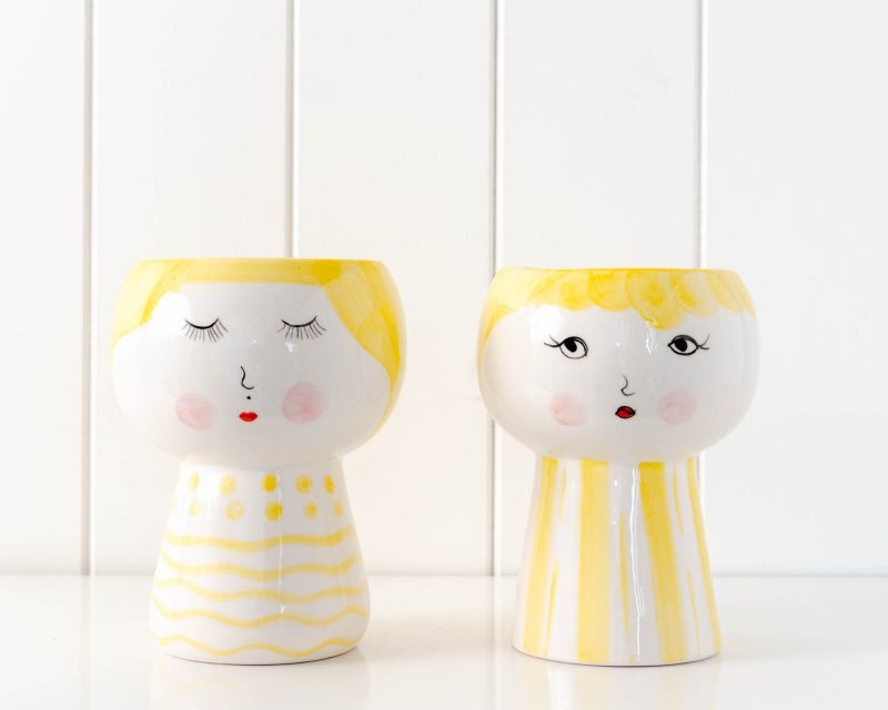 Yellow Girl Face Vase Ceramic Pot Planter