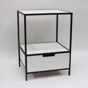 1 Drawer Industrial Bedside Table With Metal Legs