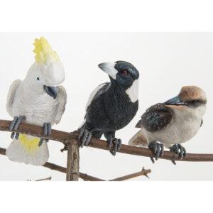 Australian Birds Pot Sitters - Kookaburra Cockatoo Magpie