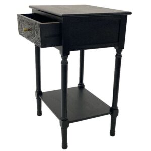 Black French Filigree Bedside Table