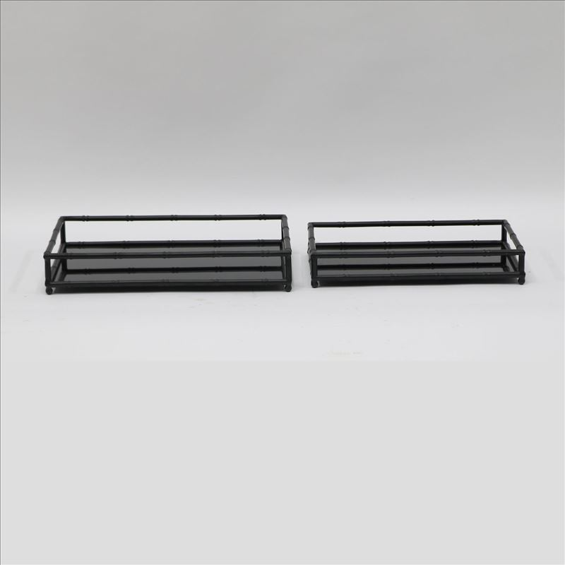 Black Glass Serving Tray With Metal Handles