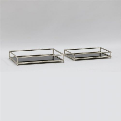 Black Glass Vanity Tray With Champagne Handles