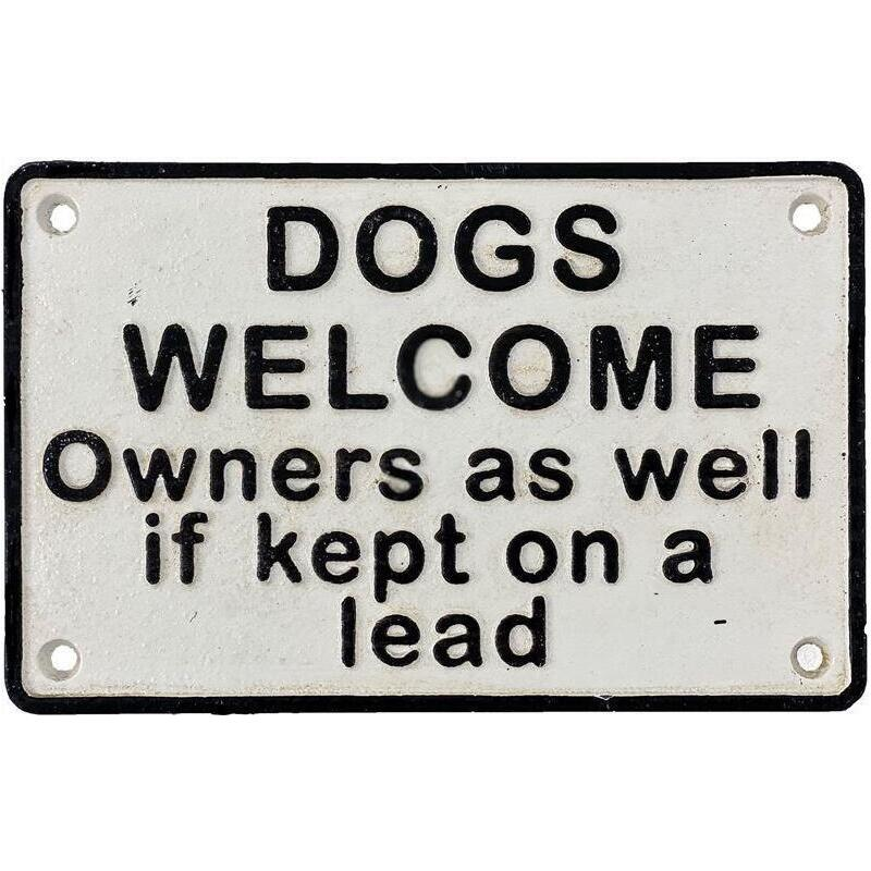 Dogs Welcome Sign Cast Iron Entrance Door Plaque