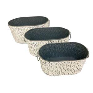 Farmhouse Style Oval Tub Metal Pot Planters - Set of 3