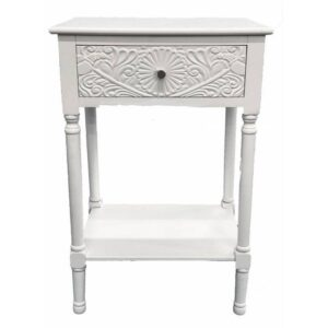 French Filigree White Bedside Table