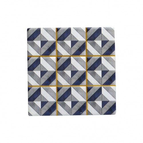 Geometric Ceramic Coasters Square Drink Holder- Set of 4