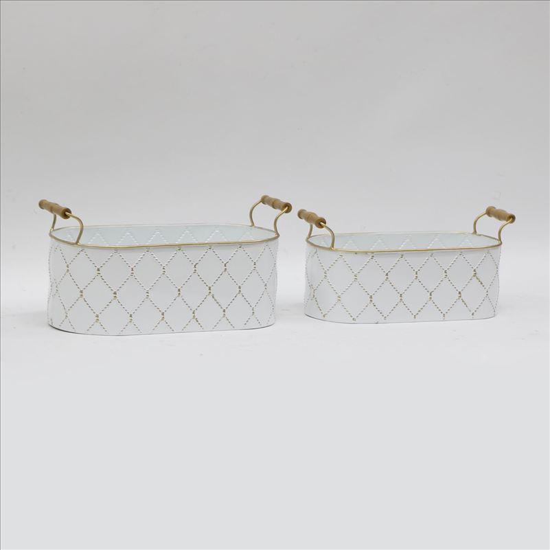 Geometric Oval Tub Metal Pot Planters - Set of 2