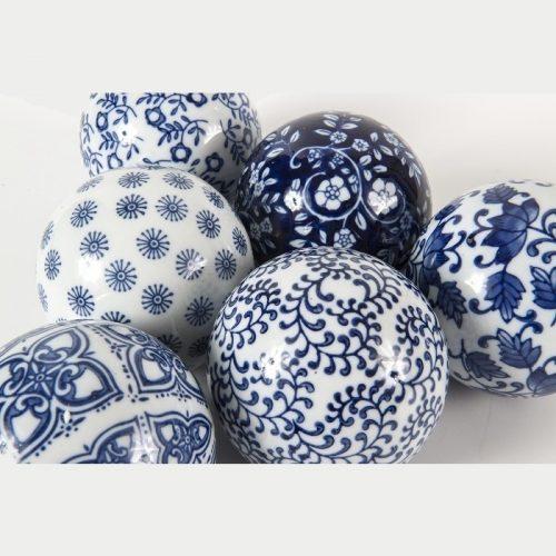 Hamptons Blue Porcelain Willow Decorative Balls - Set of 6