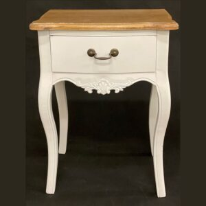 Hamptons White and Brown Bedside Table
