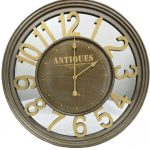 Large Mirror Wall Clock with Metal Frame