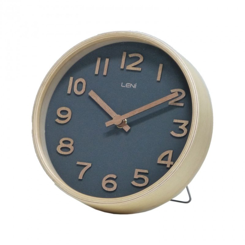 Leni Wooden Table and Wall Clock Black