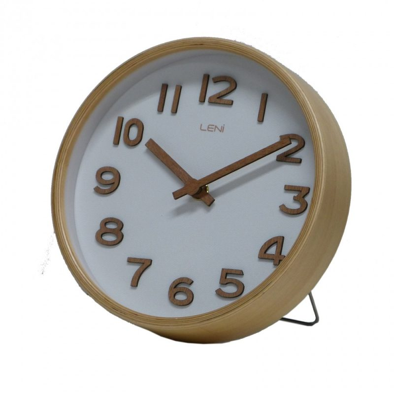 Leni Wooden Table and Wall Clock White