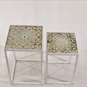 Set of 2 Whitewash Nesting Metal Glass Side Tables