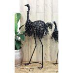 Tall Black Emu Statue Iron Figurine