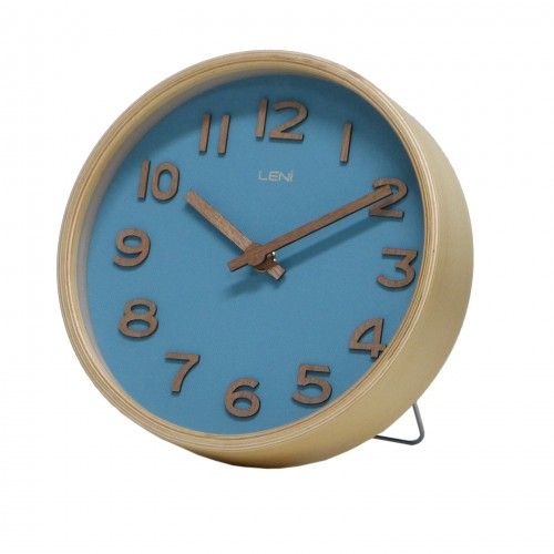 Teal Leni Wooden Table and Wall Clock