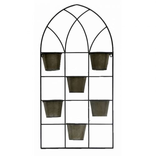 6 In 1 Black Metal Large Wall Pot Planter