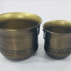 Antique Hammered Aluminium Metal Pot Planters - Set of 2
