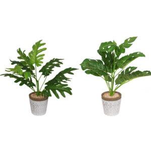 Artificial Fern Plant In White Filgree Pot