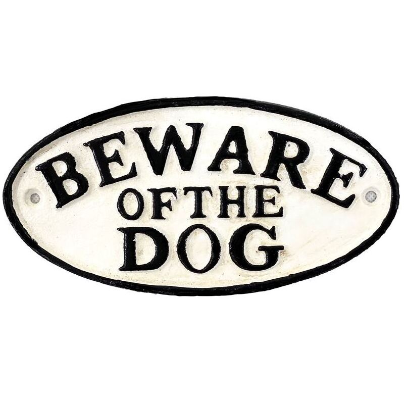 Beware of Dog Sign Cast Iron Metal Plaque