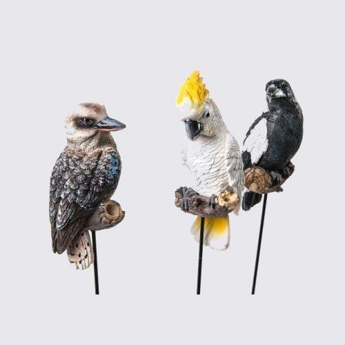 Bird Pot Sitters - Australian Kookaburra Cockatoo Magpie