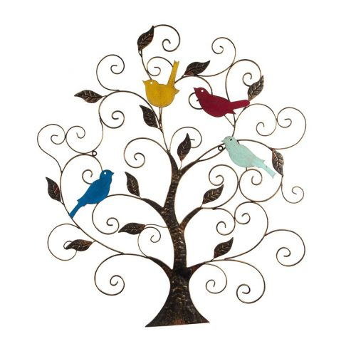 Birds Sitting On Tree Of Life Metal Wall Art