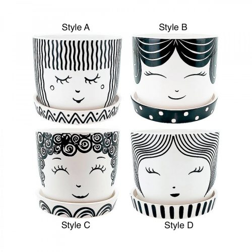 Black And White Girl Face Ceramic Pot Planter