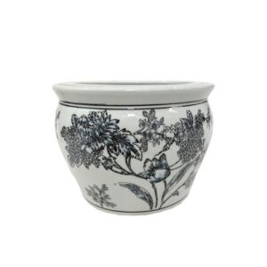 Black Blue Floral Ceramic Pot Planter