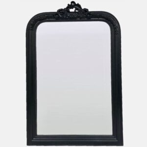 Black French Ornate Wooden Wall Mirror