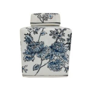 Blue Black Floral Ceramic Temple Ginger Jar