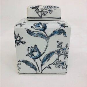Blue Black Floral Ceramic Temple Ginger Jar