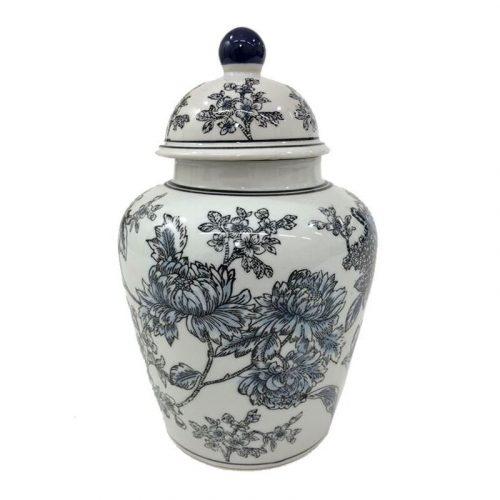 Blue Black Floral Pattern Ceramic Ginger Jar